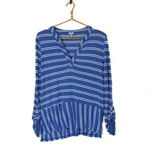 SPLENDID Blue Stripe Split neck Tab Sleeve Top L